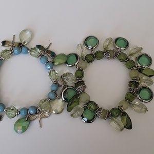 Jewelry - 💖Two Beaded Silver Bracelets